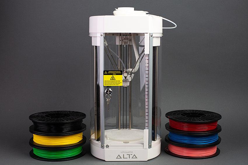 Silhouette Alta 3D nyomtató, különböző színű nyomtatószállal