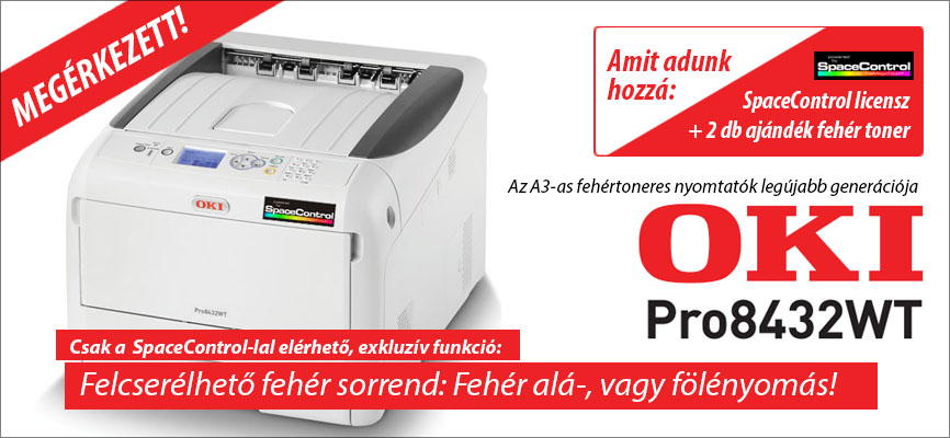 OKI Pro8432WT - az OKI legújabb generációs, fehér toneres, A3-as nyomtatója